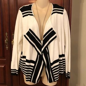 Chico's black and white cardigan